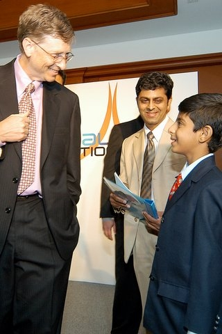 Ajay with Bill Gates and his proud Dad Mr. Ravi Puri